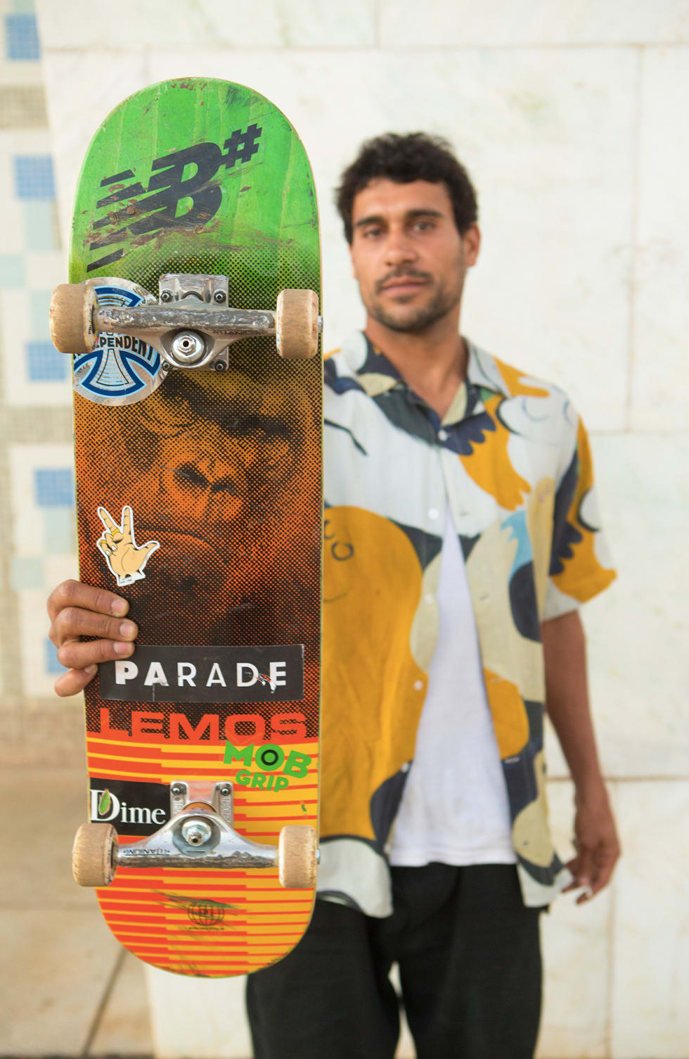 Tiago Lemos welcome to Parade World. Tiago sponsored by New Balance, Primitive, Mob grip, Independent Trucks, Dime Clothing