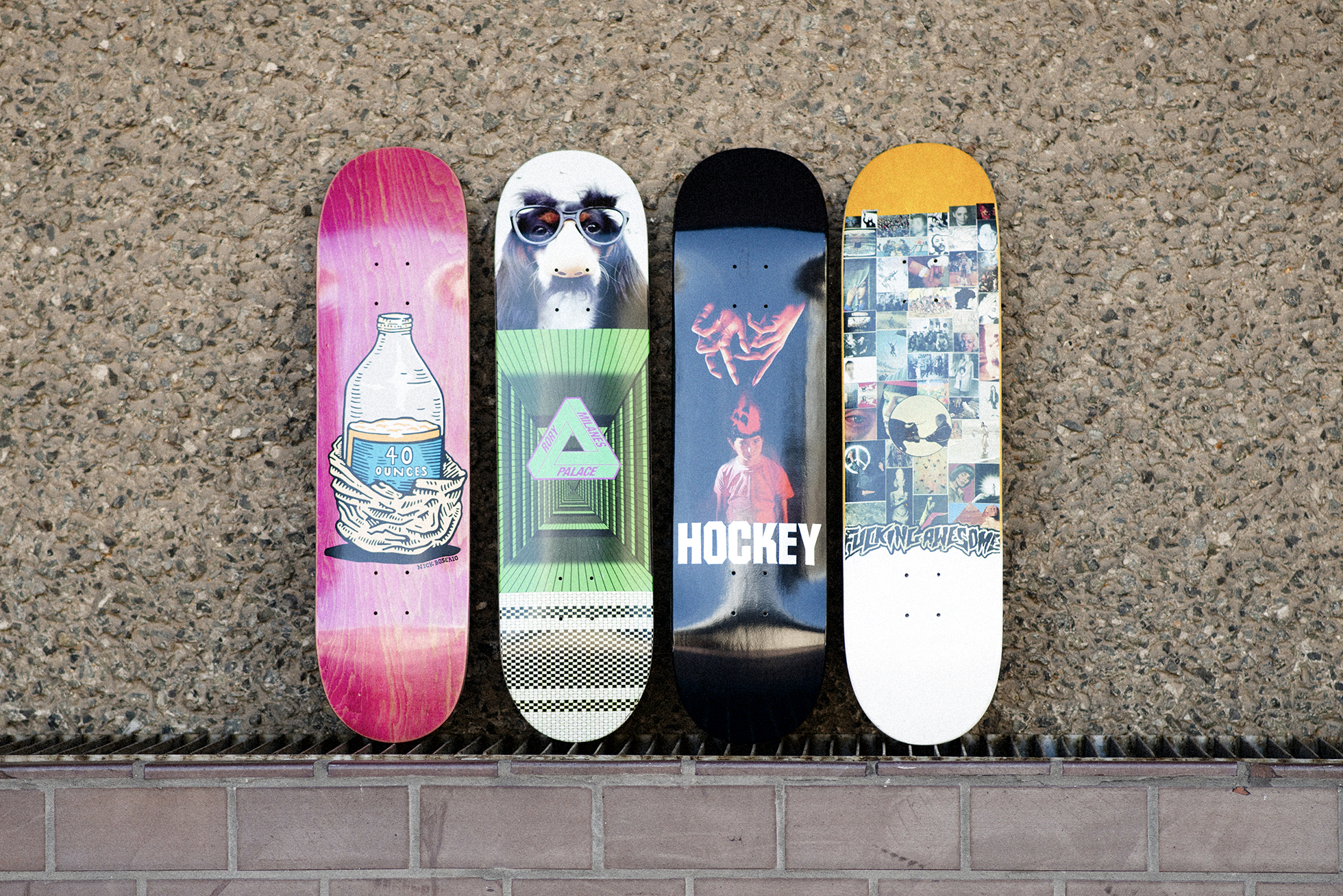 Win Fucking Awesome, Hockey, Palace and Polar Skate Co. decks.