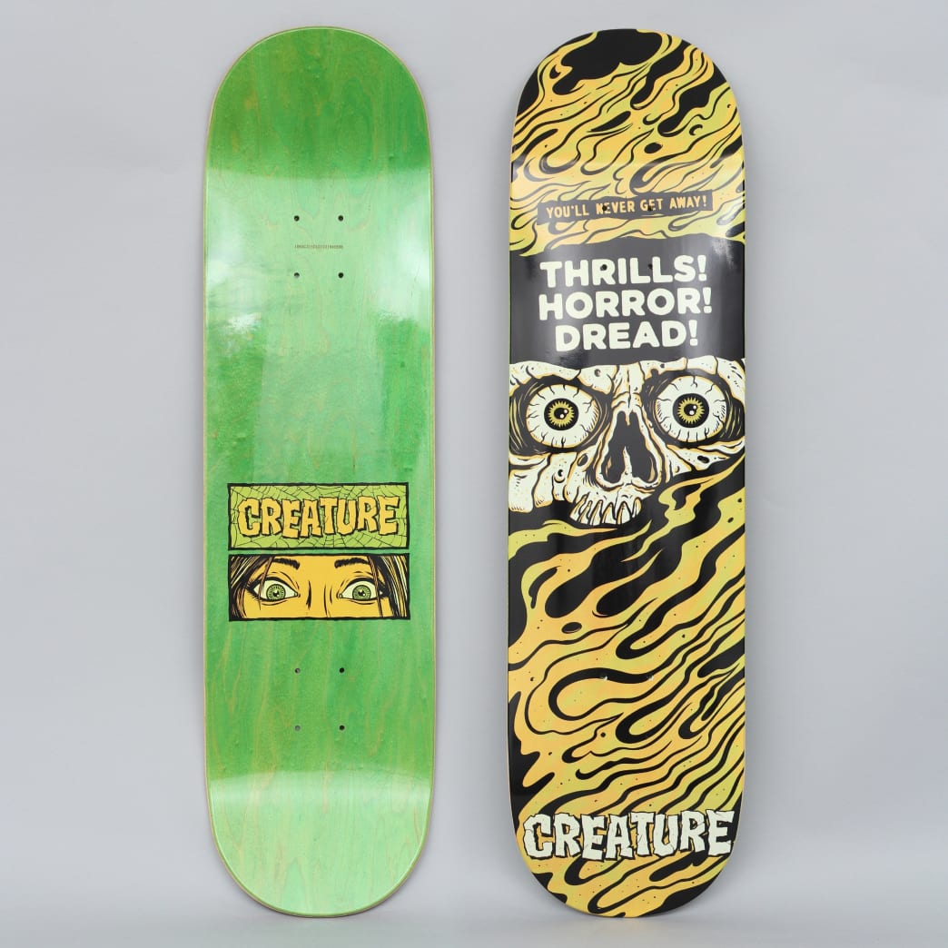 Creature 8.5 Horror Feature Large Skateboard Deck Black / Yellow | Deck by Creature Skateboards 1