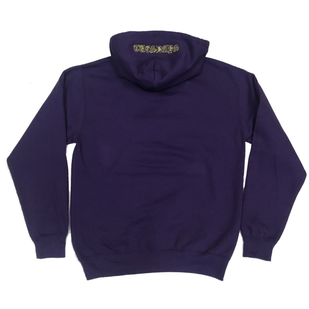 Tuesdays 'Ye Olde' Embroidered Hood Purple/Yellow | Hoodie by Tuesdays Skate Shop 1