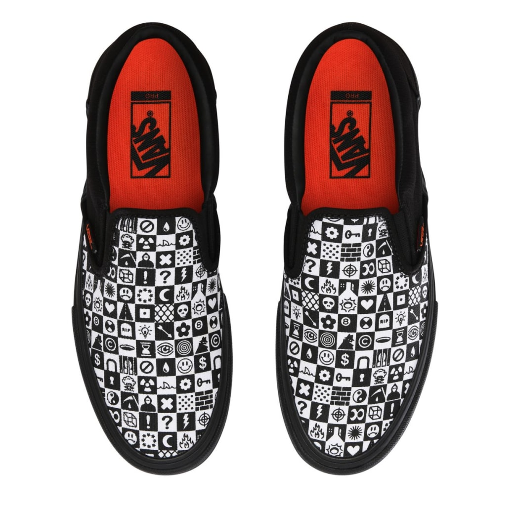 Vans CULT Slip On Pro Skate Shoes - Black Checker | Shoes by Vans 2