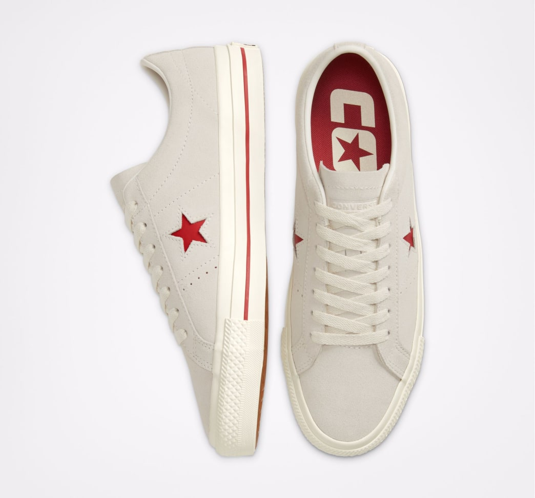 Converse Cons One Star Pro Ox Skate Shoe - Egret / Claret Red / Egret | Shoes by Converse Cons 4