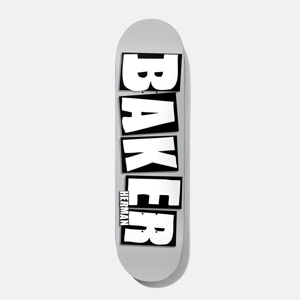 Baker Skateboards Herman Brand Name Skateboard Deck Grey/White - 8.5"