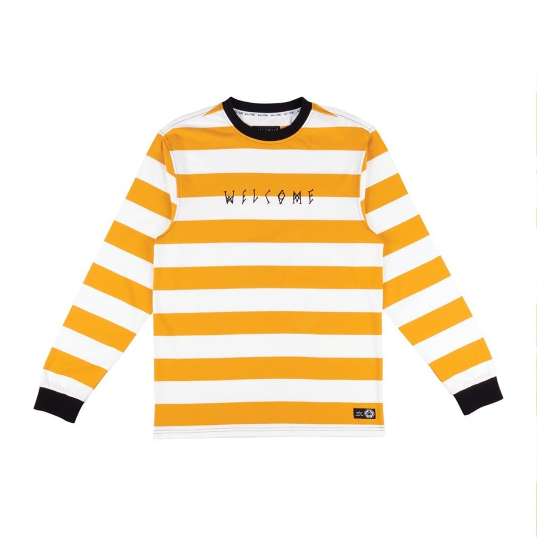 Welcome Skateboards Thicc Stripe Yarn Dyed Long Sleeve Knit T-Shirt - Gold / White | Longsleeve by Welcome Skateboards 1