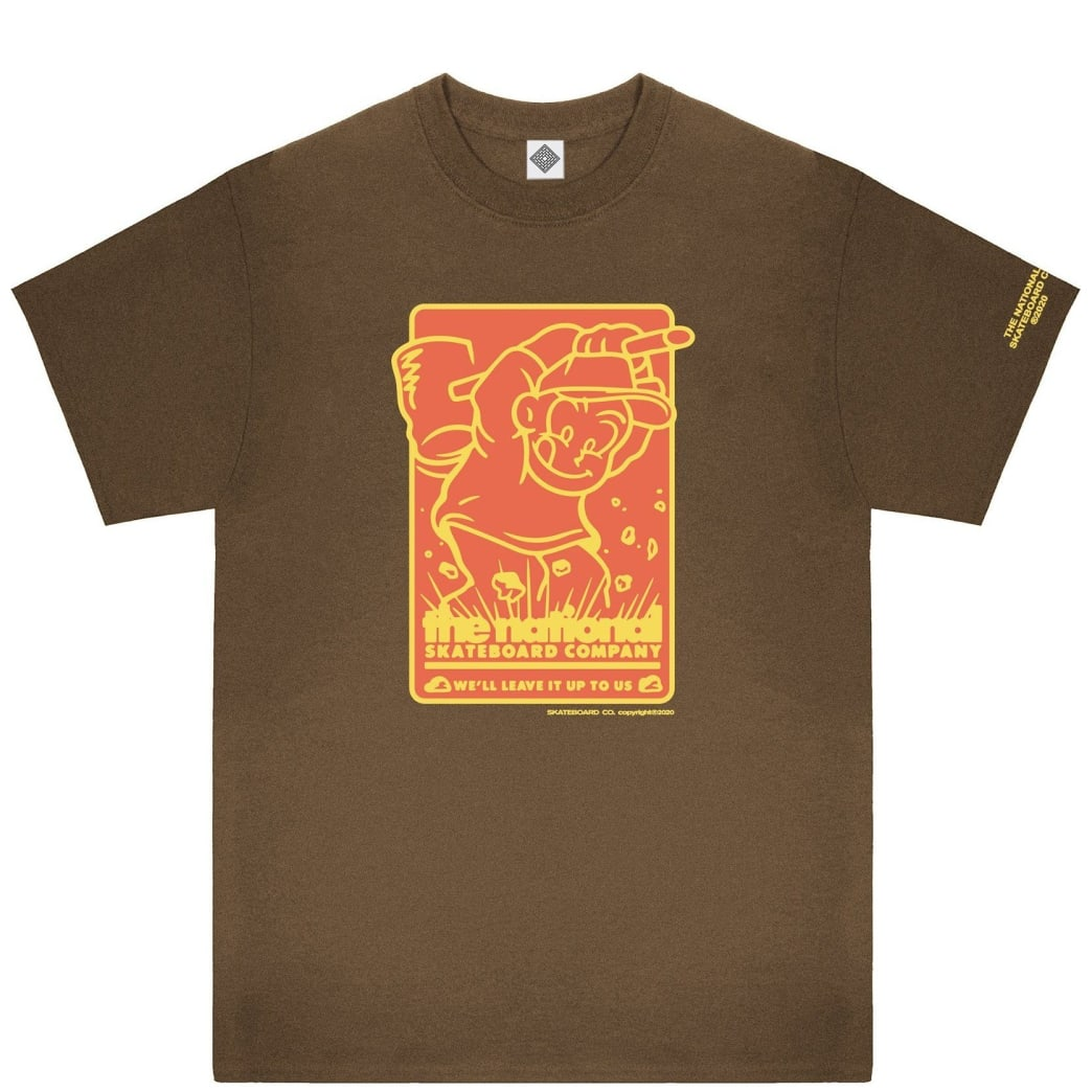 The National Skateboard Co Hook Up T-Shirt - Brown | T-Shirt by The National Skateboard Co. 1