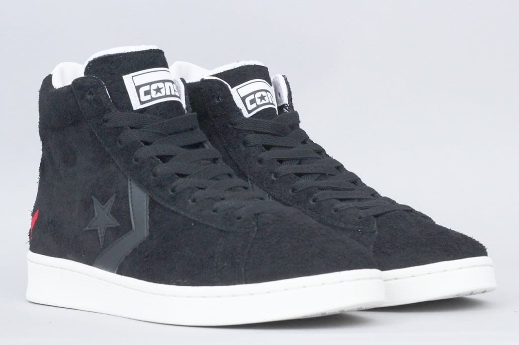 87e6795fb Shop Converse X Hopps Pro Leather Mid Shoes Black   White   Egret ...