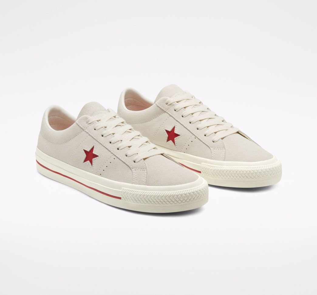 Converse Cons One Star Pro Ox Skate Shoe - Egret / Claret Red / Egret | Shoes by Converse Cons 5