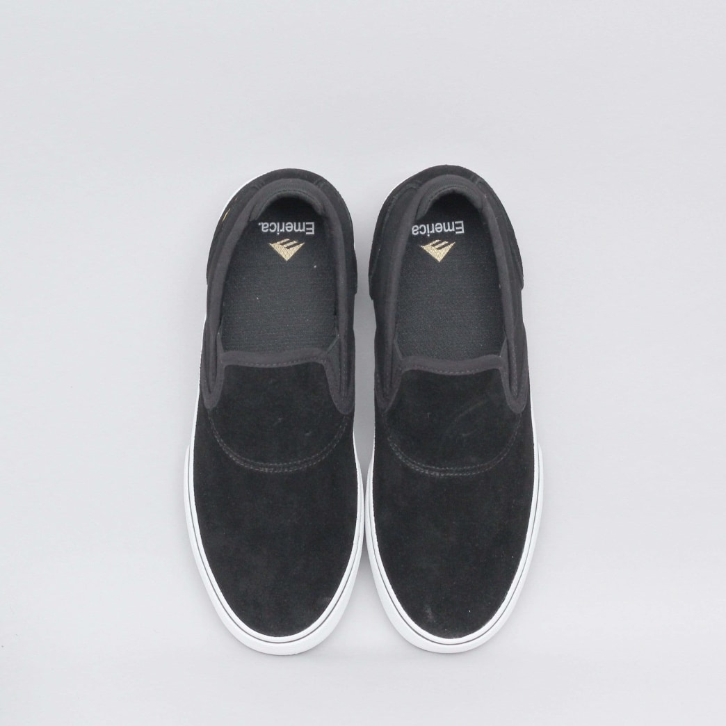 Emerica Wino G6 Slip-On Shoes (Kids) - Black / White / Gold | Shoes by Emerica 5