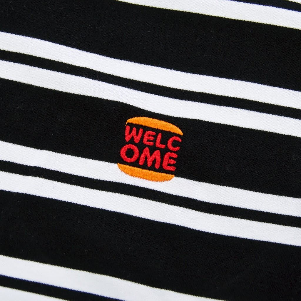 Welcome Skate Store - Burger Embroidered Striped T-Shirt - Black / White | T-Shirt by Welcome Skate Store 2