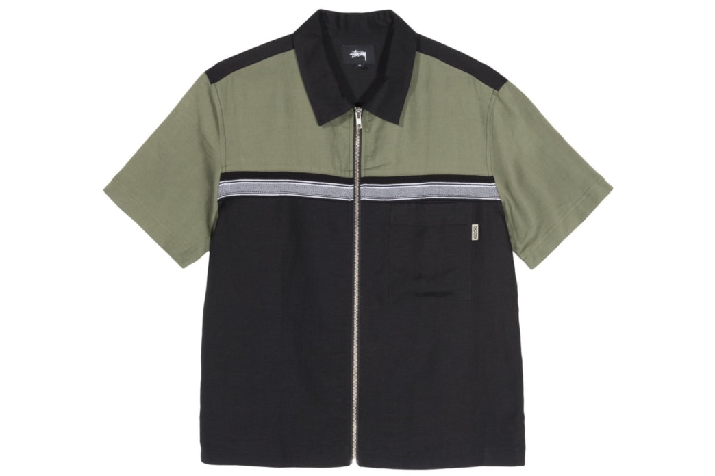 Stussy - Color Block Zip Work Shirt - Olive | Shirt by Stussy 1