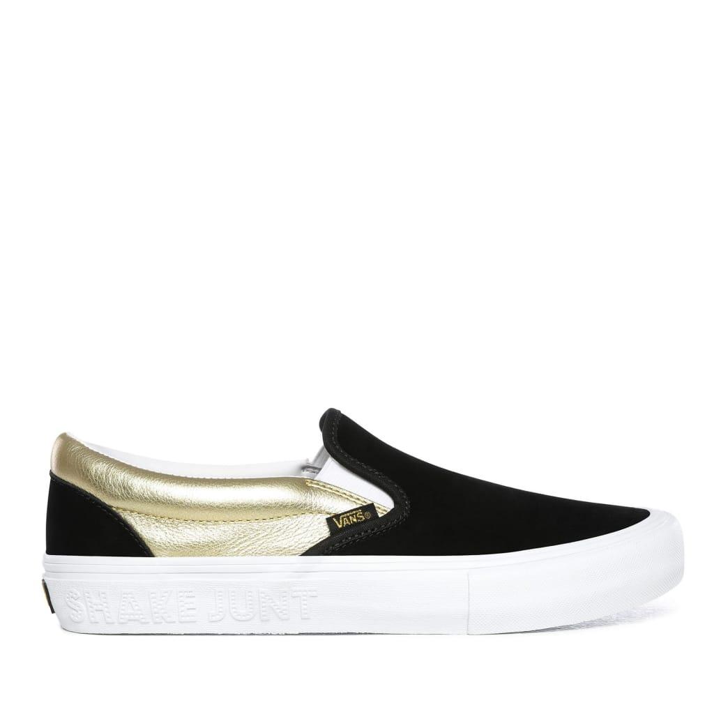 Vans x Shake Junt Slip-On Pro Skate Shoes - Black / Metallic Gold / White | Shoes by Vans 1