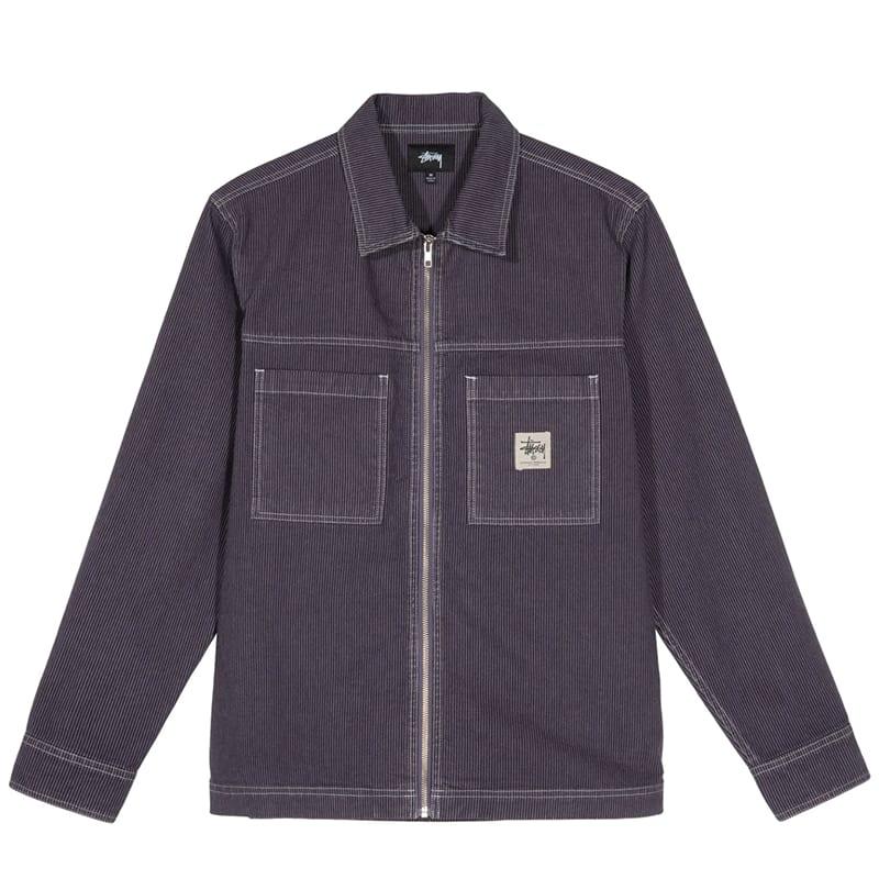 Stussy Overdyed Hickory L/S Zip Shirt - Purple | Shirt by Stussy 1