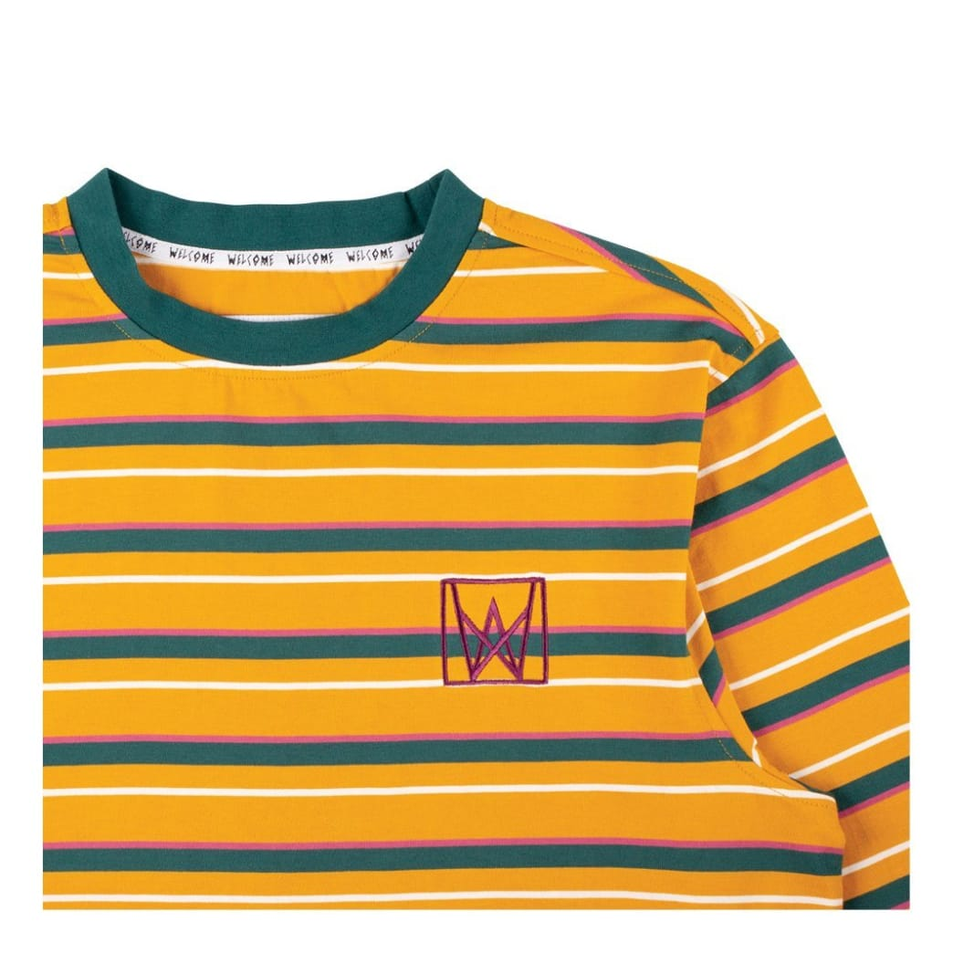 Welcome Skateboards Icon Stripe Long Sleeve Knit - Gold / Dusty Teal / Rose | Longsleeve by Welcome Skateboards 2