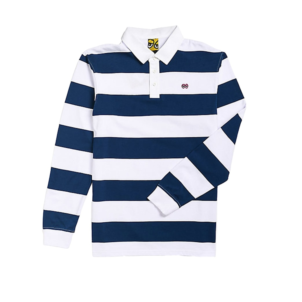 Krooked Rugby Shirt - Navy / White | Polo Shirt by Krooked Skateboards 1