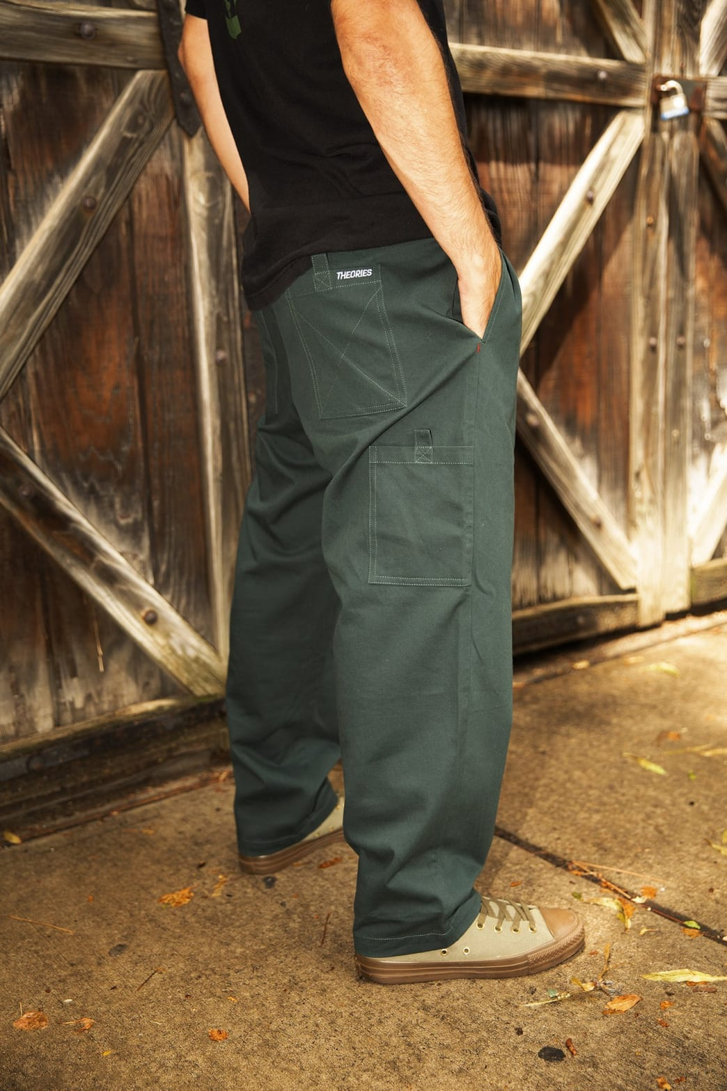 Theories Stamp Lounge Pant Scarab Green | Trousers by Theories of Atlantis 4