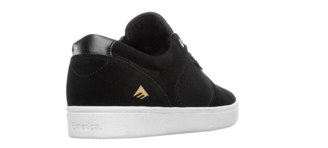 Emerica Figgy Dose Skate Shoes - Black / White / Gold | Shoes by Emerica 2