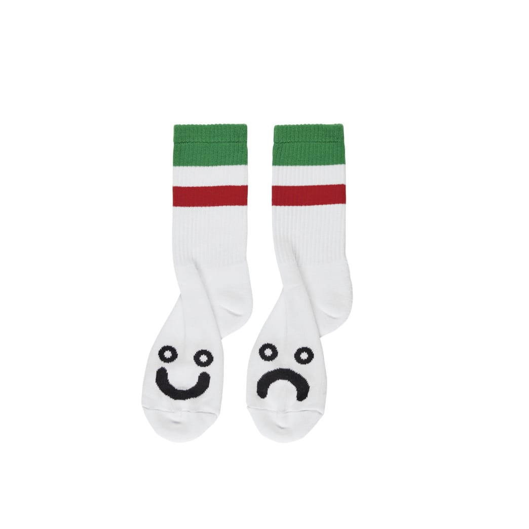 Polar Skate Co Happy Sad Socks Stripes - White / Green / Red | Socks by Polar Skate Co 1