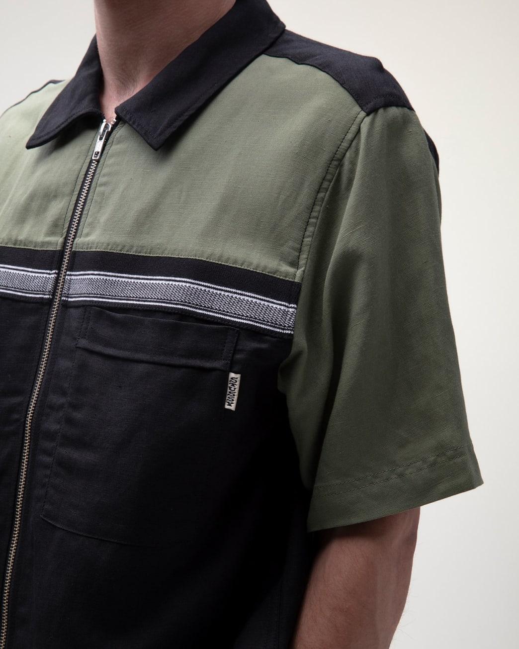 Stussy - Color Block Zip Work Shirt - Olive | Shirt by Stussy 3