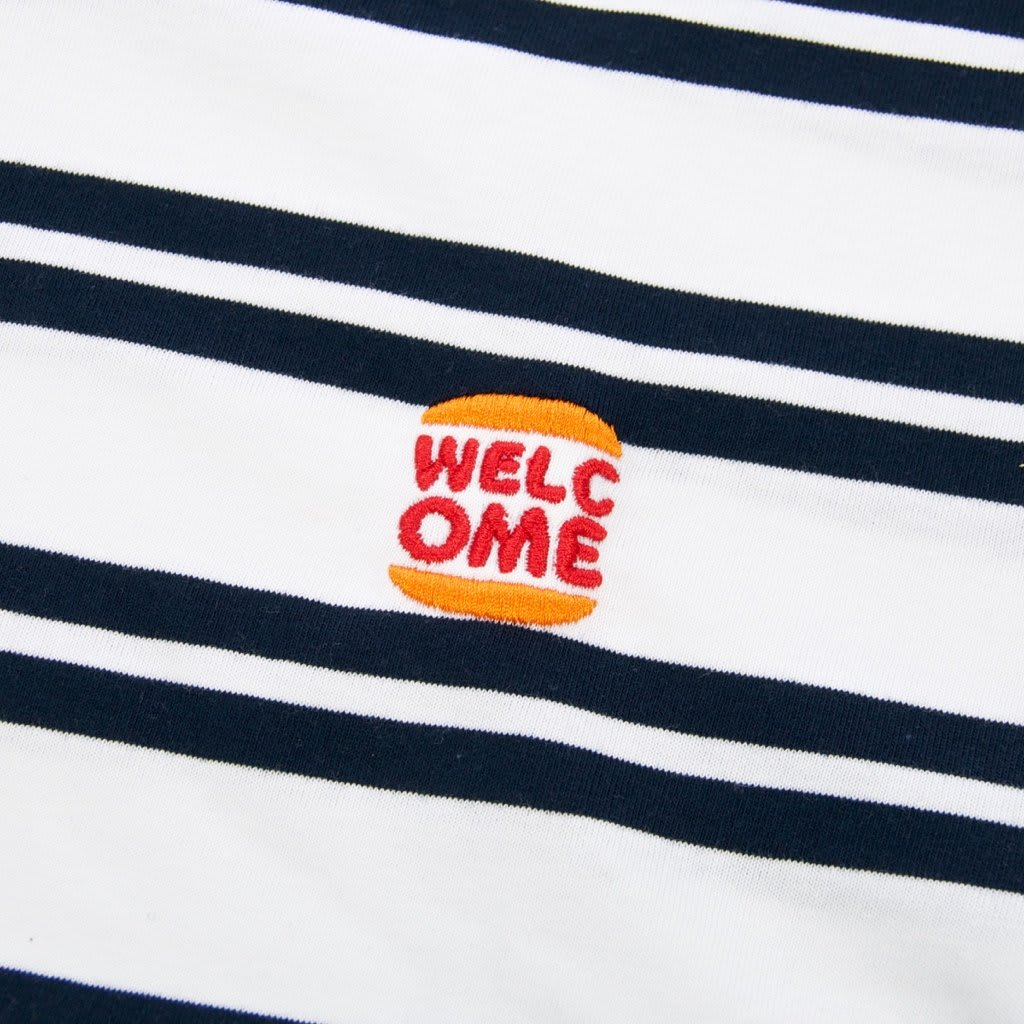 Welcome Skate Store - Burger Embroidered Striped T-Shirt - White / Navy   T-Shirt by Welcome Skate Store 2