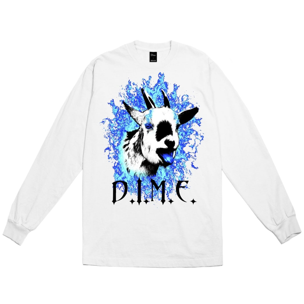 Dime Fire Goat Long Sleeve T-Shirt - White | Longsleeve by Dime MTL 1