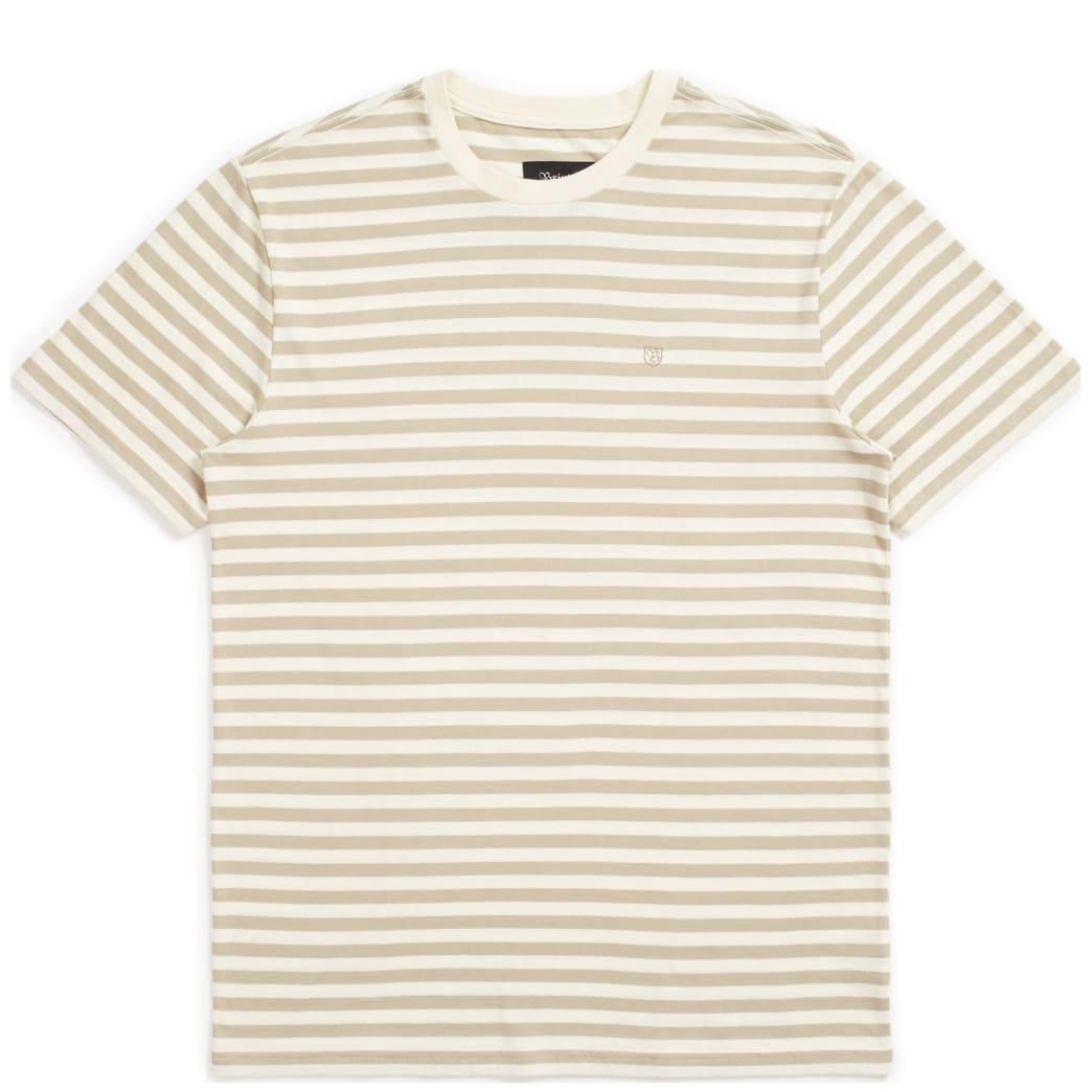 Brixton Hilt Mini Stripe Knit T-Shirt - Dove / Rock | T-Shirt by Brixton 1