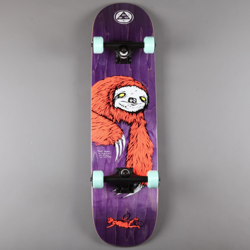 "Welcome 'Sloth on Bunyip' 8"" Complete Skateboard (Coral / Purple Stain) 