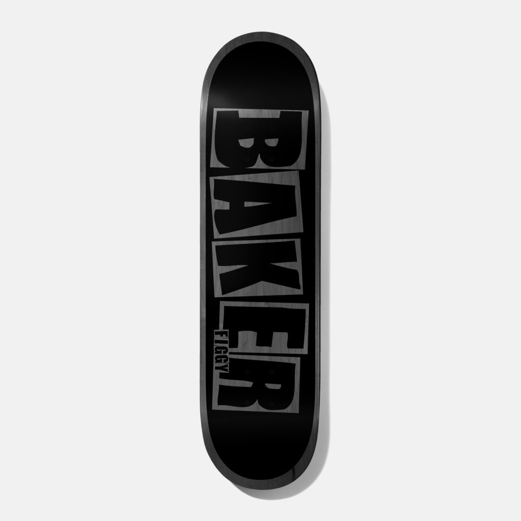 Baker Skateboards Figgy Brand Name Black / Grey Skateboard Deck - 8.38"
