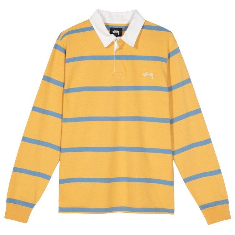 Stussy Hill Stripe L/S Rugby Shirt Gold | Polo Shirt by Stüssy 1