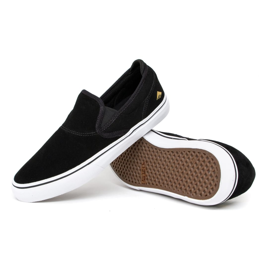 Emerica Wino G6 Slip On Skate Shoes - Black / White / Gold | Shoes by Emerica 3