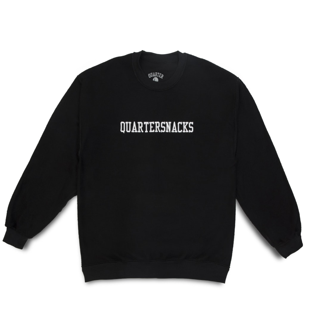 Quartersnacks Inside Out Embroidered Crewneck - Black | Sweatshirt by Quartersnacks 1