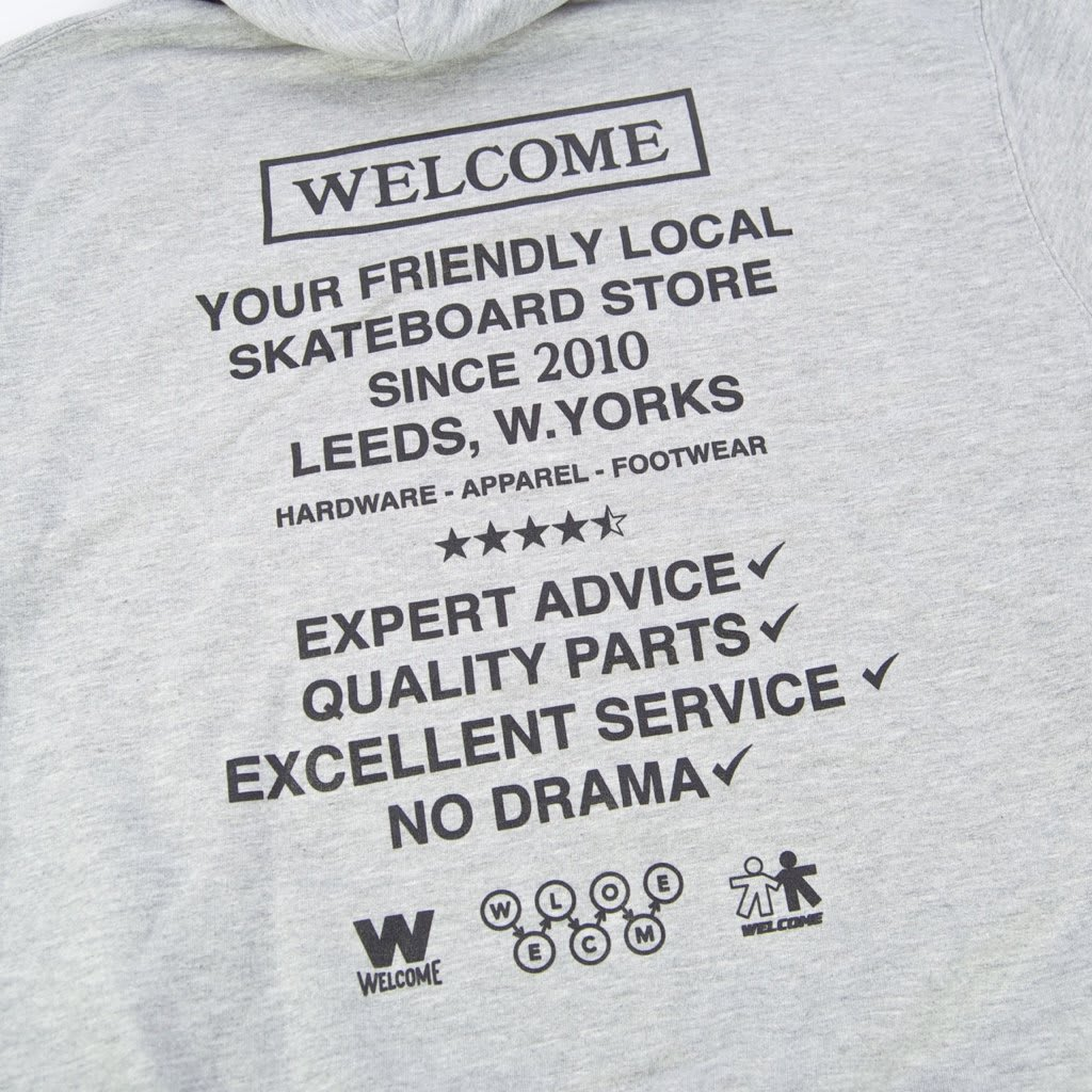 Welcome Skate Store - No Drama Pullover Hooded Sweatshirt - Heather Grey / Dark Grey Reflective   Hoodie by Welcome Skate Store 4