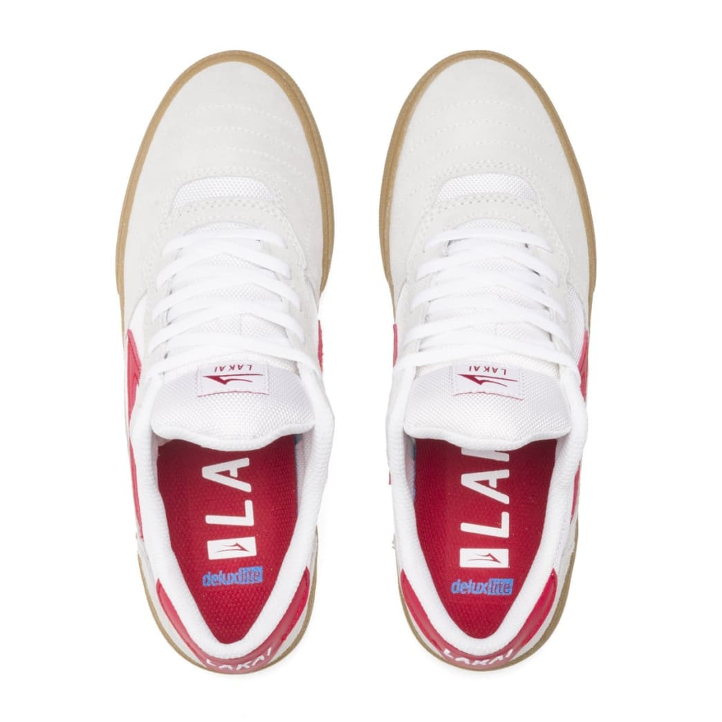 Lakai Cambridge Suede Skate Shoes - White / Red | Shoes by Lakai 3
