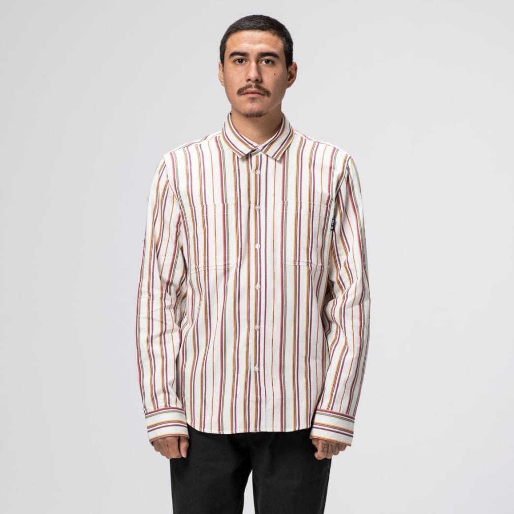 Huf Taylor Work Woven Long Sleeve - White | Shirt by HUF 3