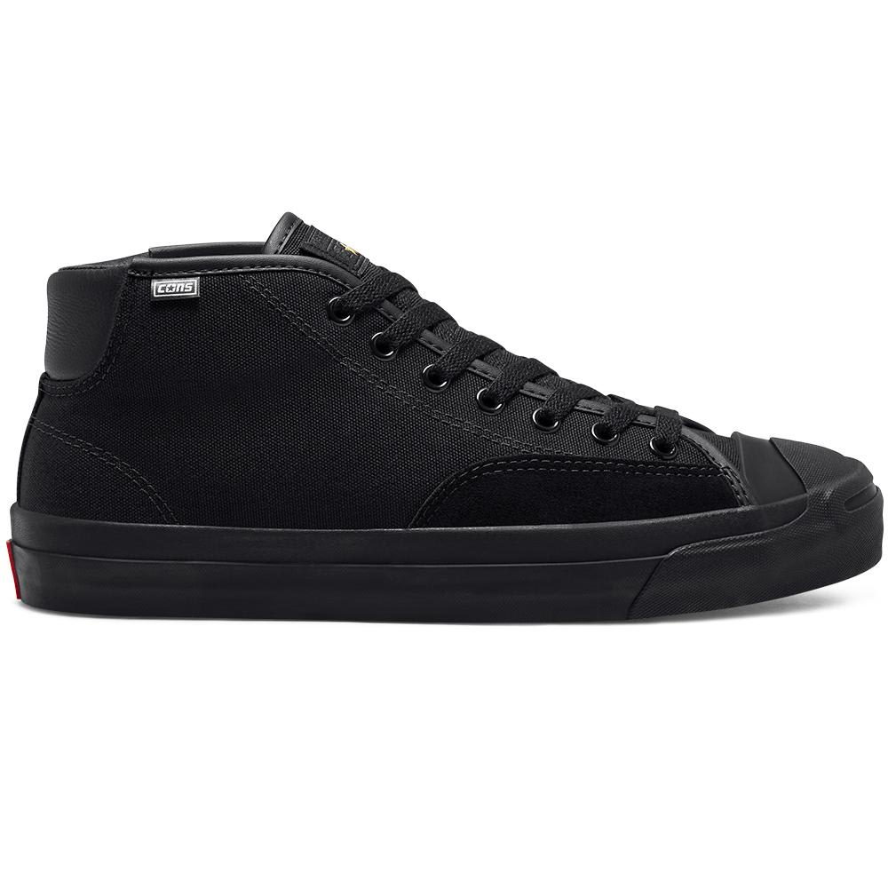 Converse Cons Jack Purcell Pro Mid Skate Shoes - Black / Enamel Red / Black   Shoes by Converse Cons 1