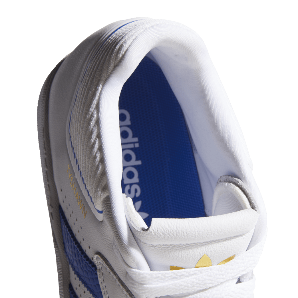 adidas Tyshawn Jones Skate Shoes - Cloud White / Blue / Gold Metallic | Shoes by adidas Skateboarding 9