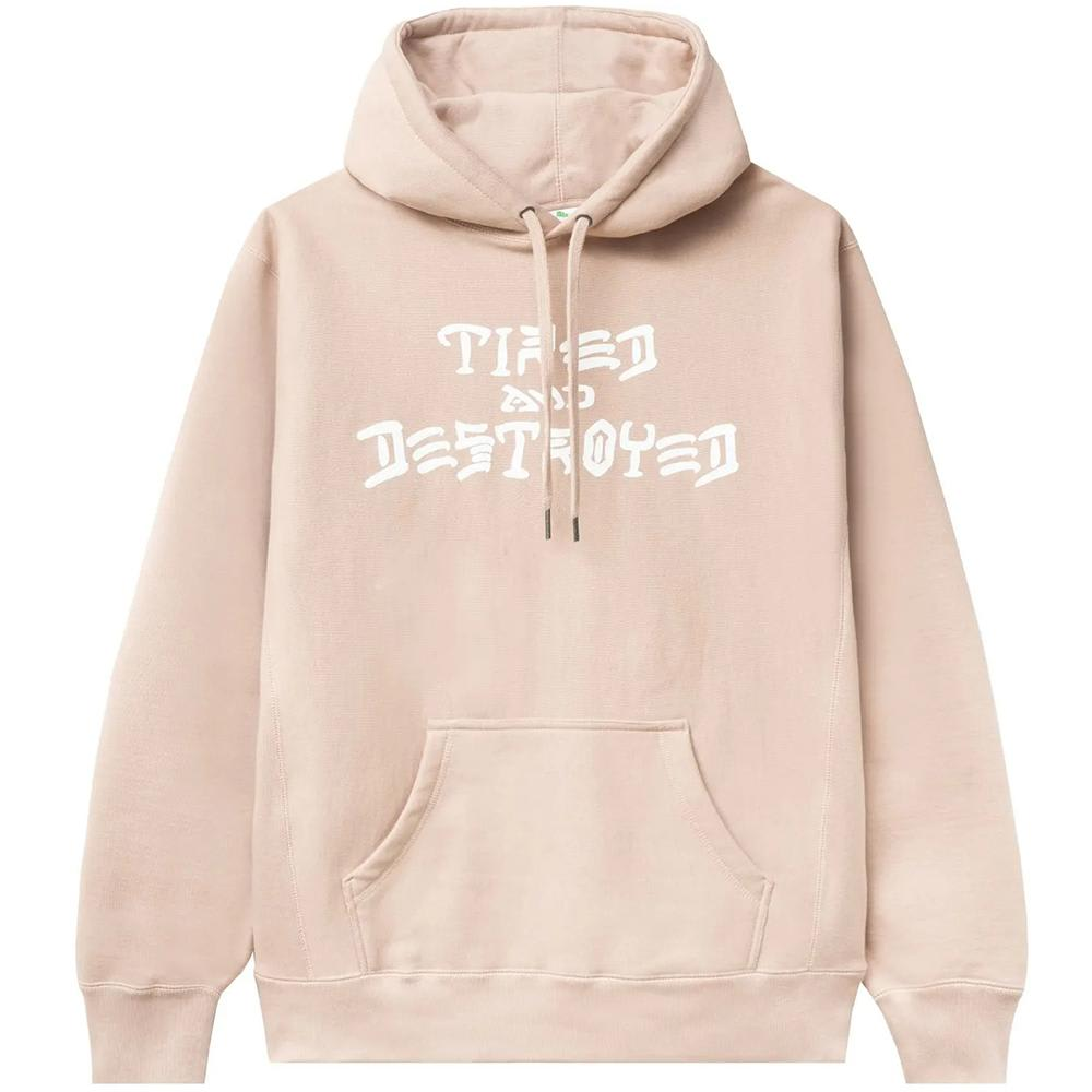 Tired x Thrasher Destroyed Hoodie - Dusty Pink | Hoodie by Tired Skateboards 1