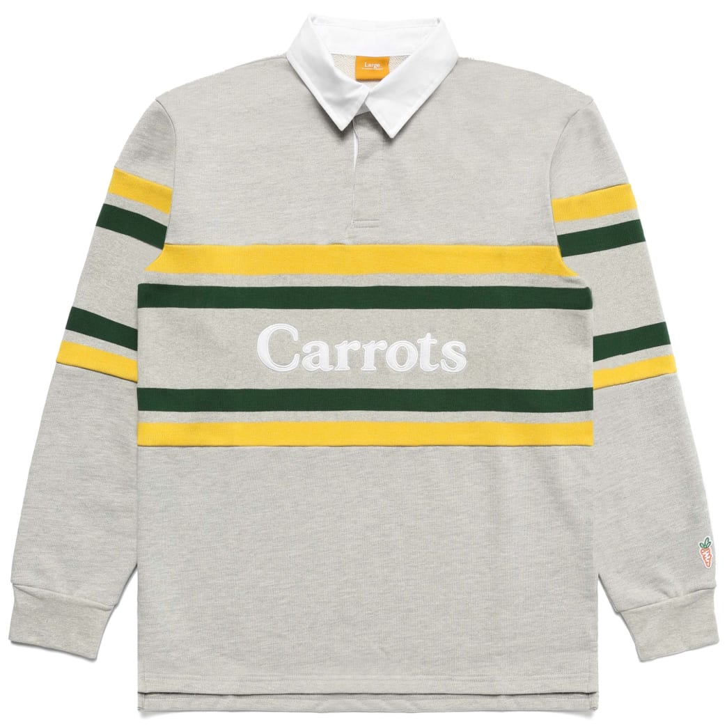 """CARROTS -""""WORDMARK STRIPED RUGBY SHIRT"""" (HEATHER GREY) 
