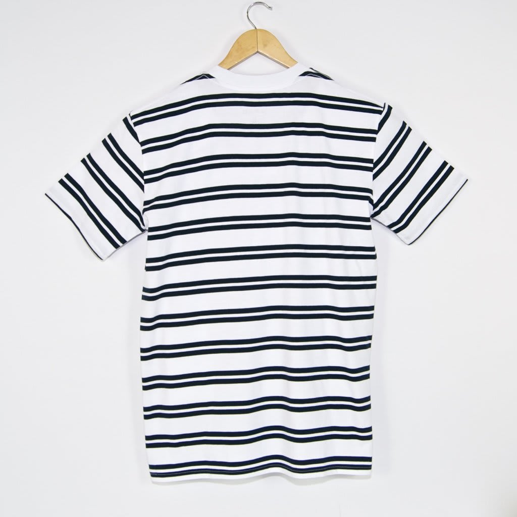 Welcome Skate Store - Burger Embroidered Striped T-Shirt - White / Navy   T-Shirt by Welcome Skate Store 3