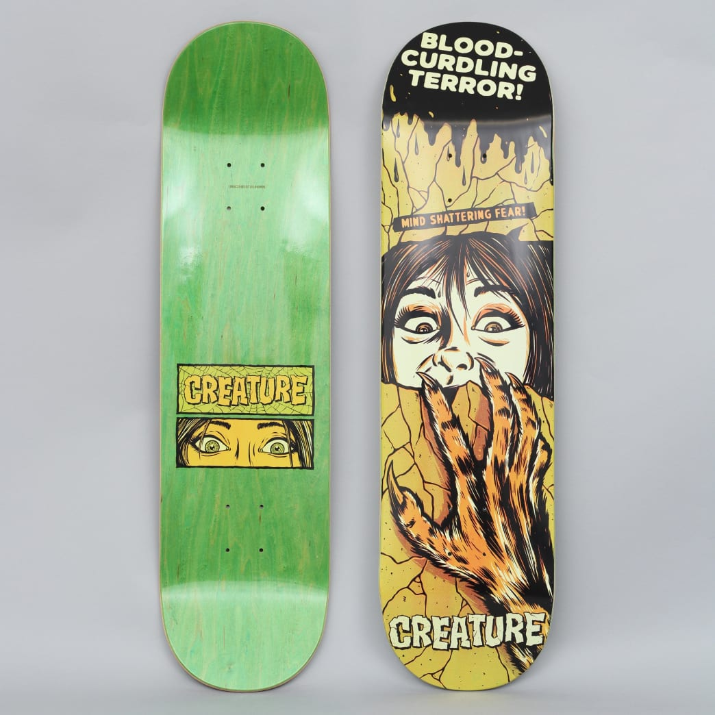 Creature 8.25 Horror Feature Small Skateboard Deck Black / Yellow | Deck by Creature Skateboards 1