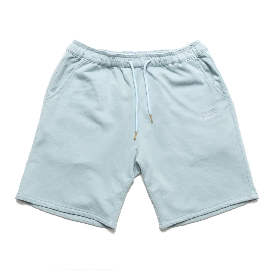 Chrystie NYC Garment Dye Classic Logo French Terry Sweat Shorts - Washed Blue | Shorts by Chrystie NYC 1