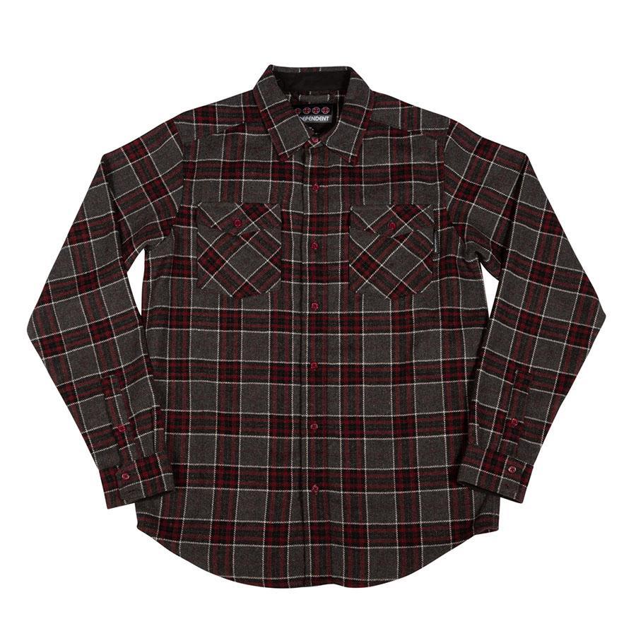 Independent - Hatchet Long Sleeve Flannel (Grey/Black/OxBlood) | Shirt by Independent Trucks 1