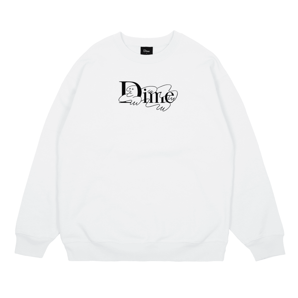 Dime Chilling Classic Logo Crewneck - White | Sweatshirt by Dime MTL 1