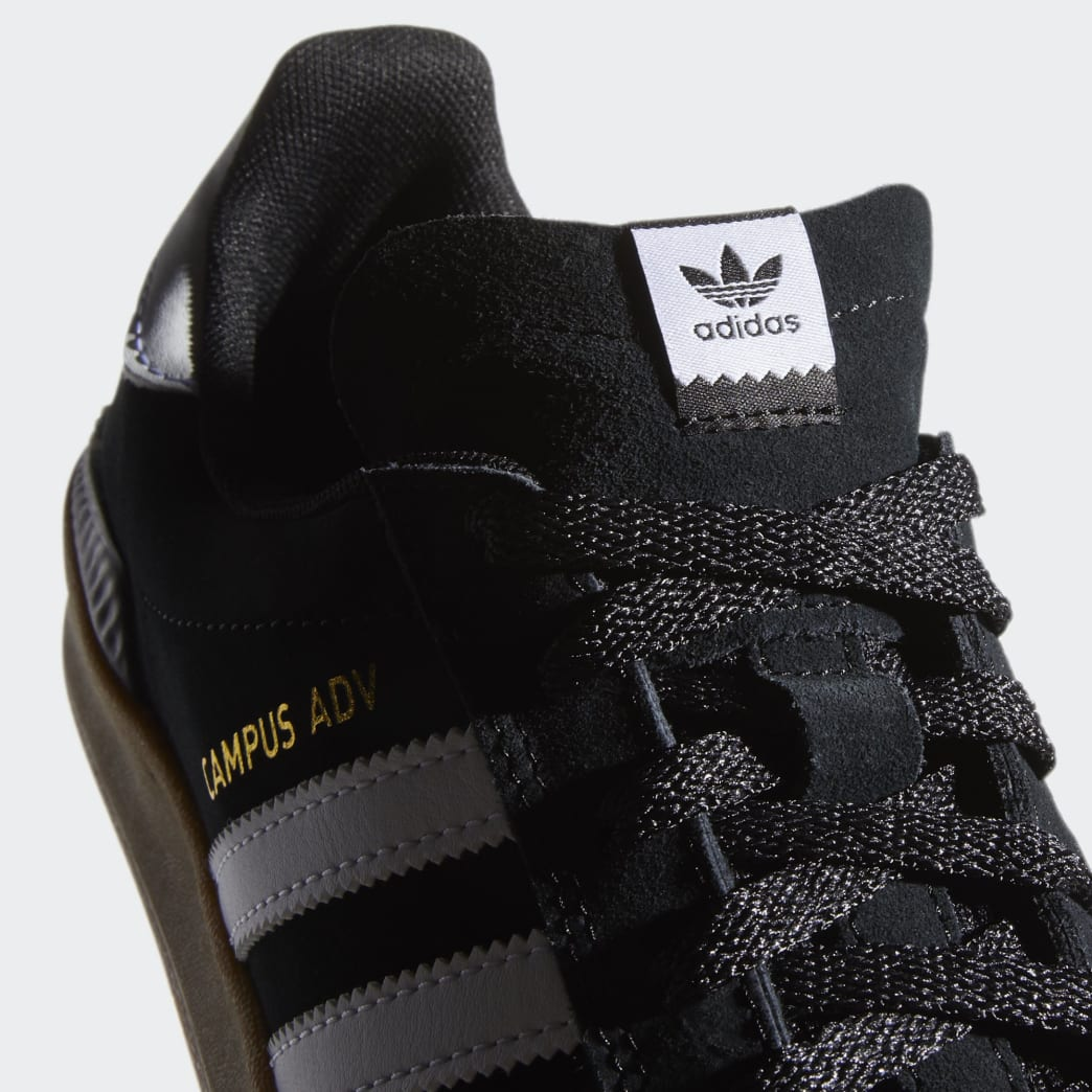 Adidas Campus ADV Shoes - Core Black/Cloud White/Gum 4 | Shoes by adidas Skateboarding 7