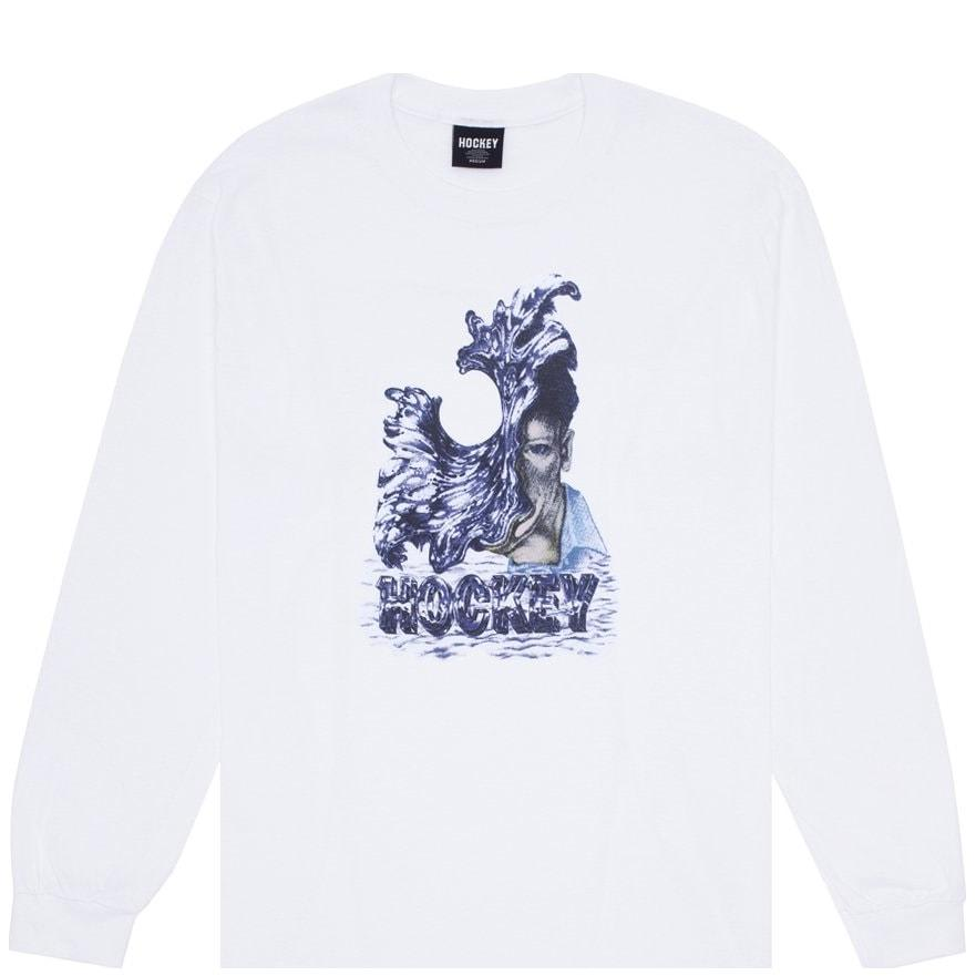 Hockey Liquid Metal Long Sleeve T-Shirt - White | Longsleeve by Hockey Skateboards 1