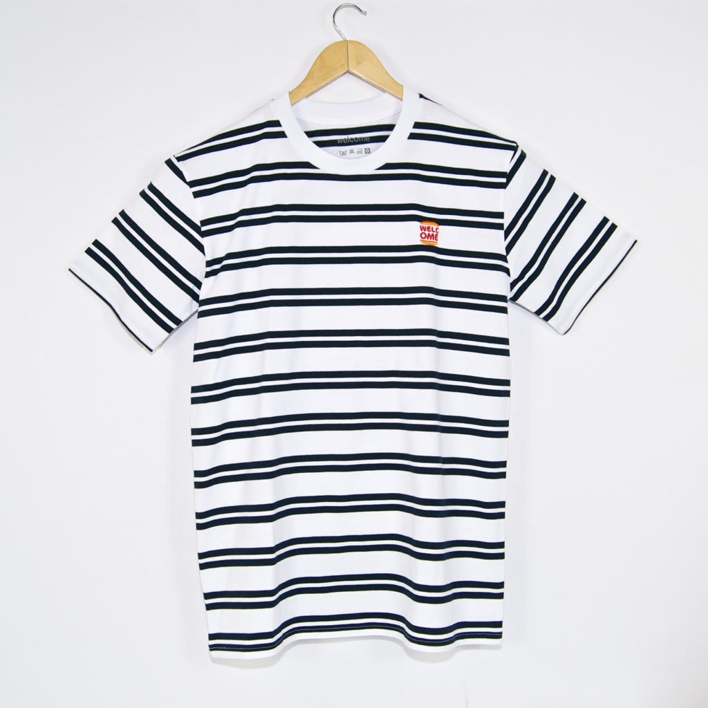 Welcome Skate Store - Burger Embroidered Striped T-Shirt - White / Navy   T-Shirt by Welcome Skate Store 1