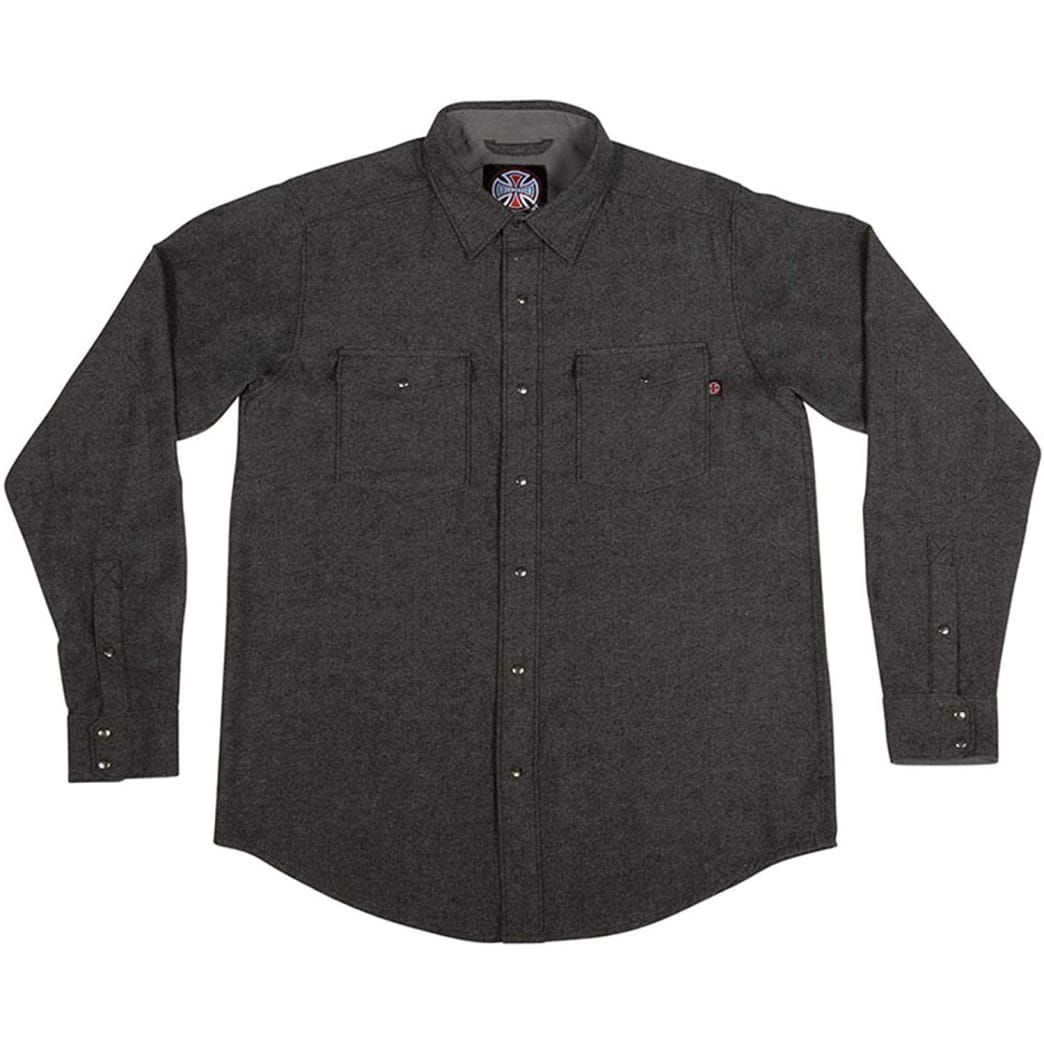 Independent Mill Long Sleeve Button Up Charcoal Heather | Shirt by Independent Trucks 1