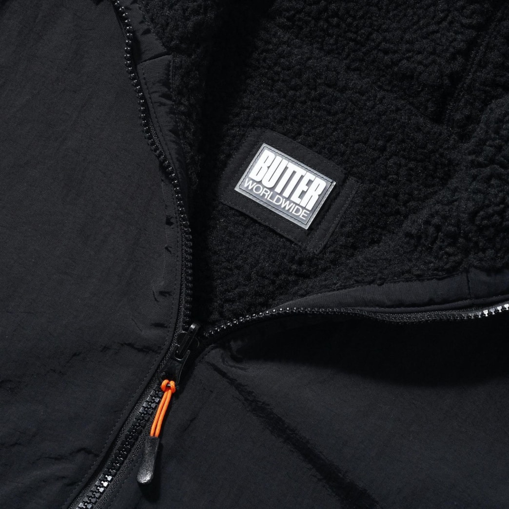 Butter Goods Base Camp Reversible Sherpa Jacket - Black / Black | Jacket by Butter Goods 4