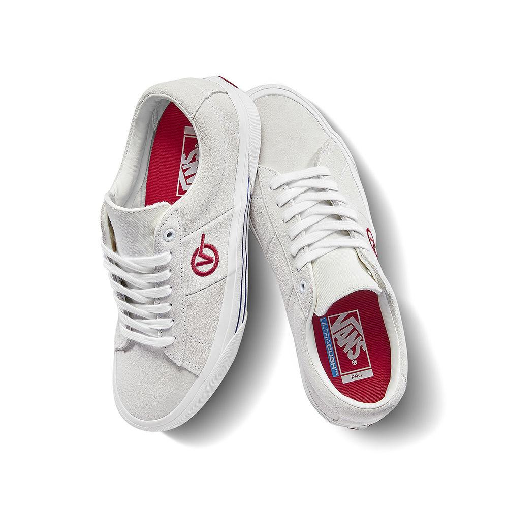 Vans Saddle Sid Pro Skateboard Shoes - Marshmallow/Racing Red | Shoes by Vans 3