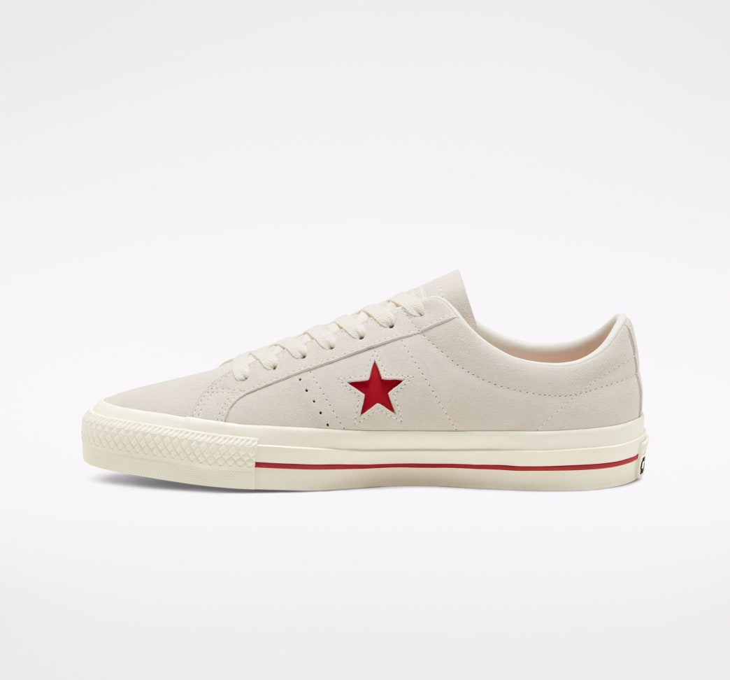 Converse Cons One Star Pro Ox Skate Shoe - Egret / Claret Red / Egret | Shoes by Converse Cons 3