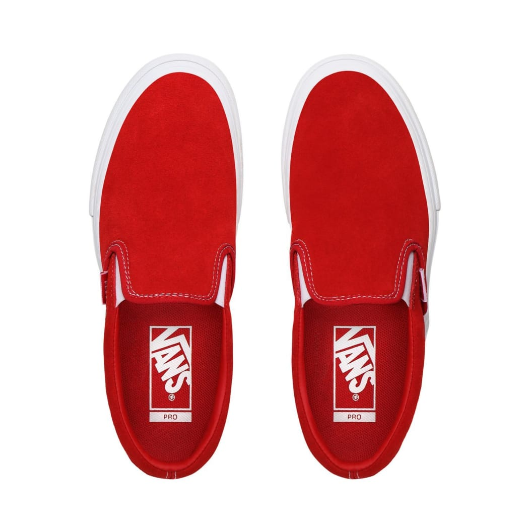 Vans Suede Slip On Pro Skate Shoes - Red / White | Shoes by Vans 2